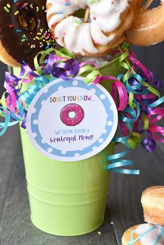 A Donut Bouquet makes a perfect gift for so many occasions. Tell someone happy birthday, thank you, or have a great day with a donut bouquet and cute tags.