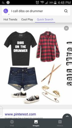 Dibs on the drummer, tie plaid around my hips,  drum sticks in hair. Awesome rock concert outfit.
