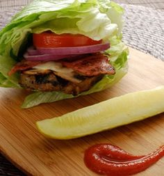Grilled lettuce-wrapped turkey burger.