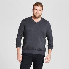 Men's Big & Tall V-Neck Sweater - Goodfellow & Co Heather Black 3XBT