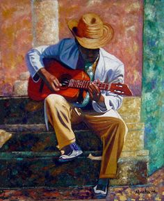 Music and Dance Imagery. This is a painting I found of a man playing the guitar. I chose this as my favorite upon much research because there were so many details within the painting that made it have so much character. I have not seen this painting in real life.