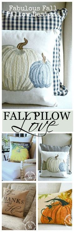 FALL PILLOWS Enjoying the beauty of fall in your decor! Lots of ideas for fall