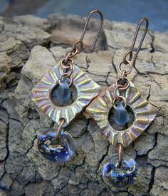 Blue Lampwork Earrings Copper Metal Clay OOAK by ChrysalisToo, $34.00