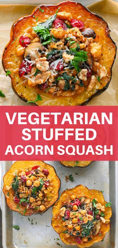 Vegetarian stuffed acorn squash is a quick and healthy main dish you can make for a fun weeknight dinner any day of the week. Packed with simple ingredients, only a few easy steps to pull together, pl Acorn Squash Recipes Healthy, Tasty Vegetarian Recipes, Vegetarian Main Dishes, Vegetarian Recipes Dinner, Veggie Dishes, Beef Recipes, Cooking Recipes, Healthy Recipes, Vegetarian Stuffed Acorn Squash