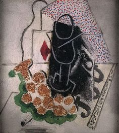 Pablo Picasso. Grappe de raisin, pipe, verre, et journal. 1914