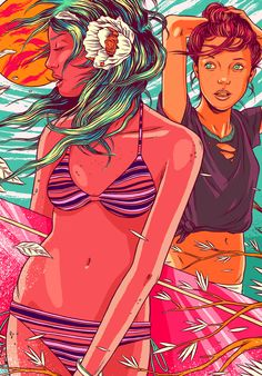The explosive illustrations by Brazilian collective Bicicleta Sem Freio (image) Psy Art, Guache, Electronic Art, Psychedelic Art, Illustrations, Digital Illustration, Art Girl, Comic Art, Graphic Art