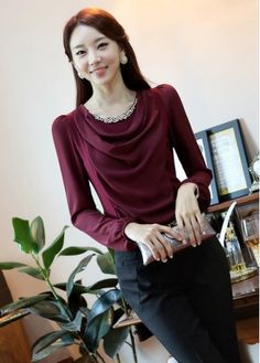 Work Lady Essential Cowl Neck Cowl Neck Patchwork T Shirts with cheap wholesale price, buy Work Lady Essential Cowl Neck Cowl Neck Patchwork T Shirts at wholesaleitonline.com !