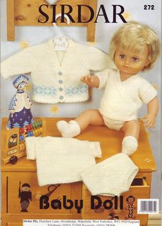 Free 12 to 22 inch doll pattern Knit Knitted Doll Patterns, Doll Dress Patterns, Knitted Dolls, Baby Knitting Patterns, Baby Patterns, Clothing Patterns, 12 Inch Doll Clothes, Baby Doll Clothes, Baby Dolls
