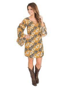 Flying Tomato Women's Mustard Floral Print with Lace up Front and Long Bell Sleeves Dress | Cavender's