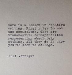 Kurt Vonnegut Writing Quote Typed on Typewriter by farmnflea, $10.00