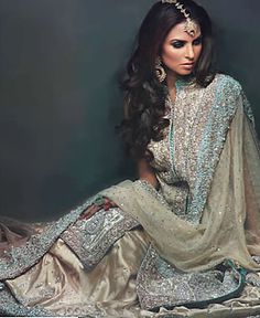 ivory and ice blue wedding lehenga | for more bridal looks, follow my South Asian Fashion boards!