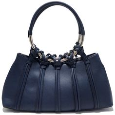 Navy Knotted Loop Satchel (3.940 RUB) ❤ liked on Polyvore featuring bags, handbags, purses, blue, blue hand bag, blue purse, satchel hand bags, handbag satchel and satchel purses