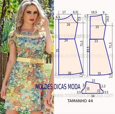 Passo a passo construção molde de vestido. O molde de vestido encontra-se no tamanho 44. A ilustração do molde de vestido não tem valor de costura.: