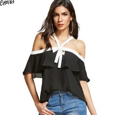 Black Ruffle Halter Off Shoulder Chiffon Blouse Summer Cross Back Contrast White Trim Backless Sexy Bow Front Women Top