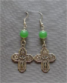 Religious 4 Way Cross  8mm Green Glass by JaysReligiousGifts