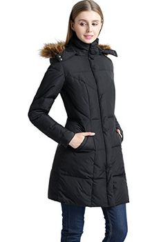 """BGSD Women's """"Elisa"""" Water Resistant Down Parka Coat - Black M. Hidden front YKK zipper closure; Snap cuffs; Removable hood with faux fur trim. Two exterior hand pockets. Approx. length from center back: 35"""". Insulated, windproof, water resistant; Machine wash. BGSD is a U.S.A. designed and trademarked brand. All BGSD label merchandise will always include original brand tags and labels."""