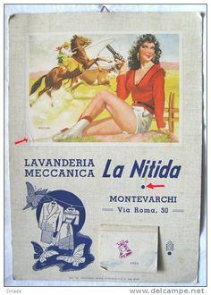 CALENDARIO FORMATO GRANDE PUBBLICITA LAVANDERIA MONTEVARCHI AREZZO ANNO 1954 ILLUSTRATORE MOLTRACIO