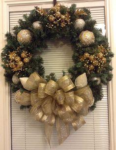 Gold Christmas wreath on Etsy, $68.95