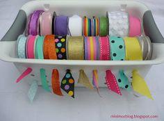 minimoz: Ribbon Basket Storage - DIY -using dollar store baskets and dowels