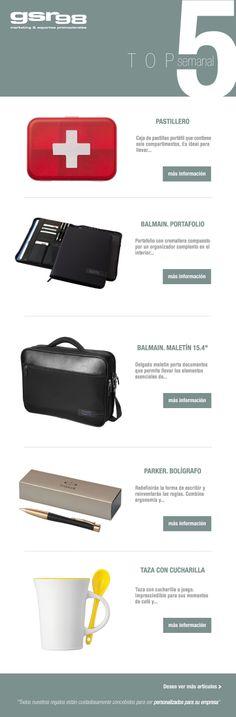 Os presentamos el Top 5 de esta semana en #regalos de empresa y #merchandising. Esperamos que os guste ;D http://www.regalodeempresagsr98.es/mail/04-02-2014/