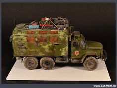 "Soviet Army Truck ZIL-131 ""S.T.A.L.K.E.R."", 1/35 scale. By Roman Vorobiev & Pavel Cherepanov. #scale_model #Post_Apocalyptic #S_T_A_L_K_E_R http://ost-front.ru/en/2016/06/30/131/"