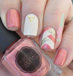 Il était un vernis Paeonia // Braided nails in cream, gold and coral pink - http://lapaillettefrondeuse.blogspot.be/2015/05/il-etait-un-vernis-paeonia-braided.html - #nail #nailart