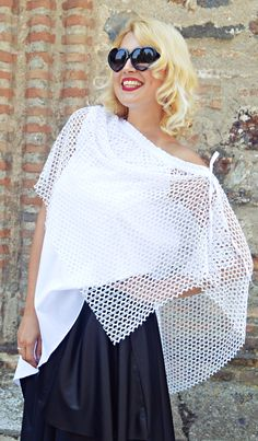 White Summer Top, Summer Blouse, Lace and Cotton Summer Blouse, Extravagant White Top TT121, Asymmetrical Blouse TEYXO by Teyxo on Etsy https://www.etsy.com/listing/527231814/white-summer-top-summer-blouse-lace-and