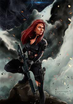 "spassundspiele: ""Black Widow – fan art/poster by Santtos "" Marvel Comic Universe, Marvel Heroes, Marvel Cinematic, Marvel Avengers, Marvel Women, Marvel Girls, Natasha Romanoff, Wallpaper Marvel, Heros Comics"