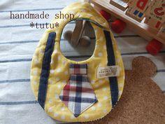 ネクタイ風スタイ2 Handmade goods for baby&kid`s Handmade shop *tutu* 【生地】 表 Wガーゼ 中 タオル 裏 Wガーゼ