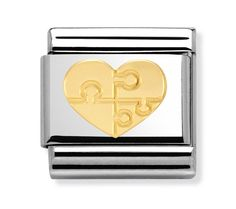 Nomination Steel and Gold Love Heart Charm Nomination Charms, Nomination Bracelet, Gift Finder, Classic Gold, Silver Brooch, Love Heart, Heart Charm, Jewelery, Jewelry Design