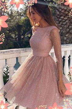 Sleeves Short Prom Dress Pink Homecoming Dress with Open - Homecoming Dresses Long Sleeve Homecoming Dresses, Hoco Dresses, Mini Dresses, Sexy Dresses, Summer Dresses, Pretty Dresses, Cute Formal Dresses, Sparkly Homecoming Dresses, Awesome Dresses