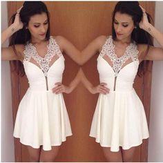 Sexy V collar white lace Chiffon Dress