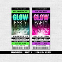 GLOW PARTY invitaciones fiesta de cumpleaños de por nowanorris