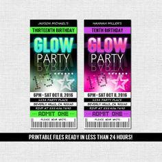 Neon Party Invitations Templates Free Best Of Glow Party Invitations Ticket Style Neon Birthday by nowanorris Neon Party Invitations, Party Tickets, Ticket Invitation, Halloween Invitations, Invitation Ideas, Invitation Templates, Neon Birthday, 16th Birthday, Birthday Ideas