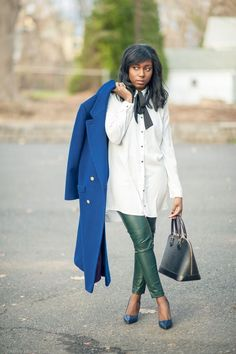 Bow Front Blouse and Green Leather Leggings