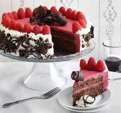 Torta de chocolate y frambuesas de lujo