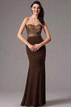 Vestido de Dama de Honor Café Sin Tirante Corte Cariño(07160220)
