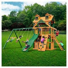 Gorilla Playsets Malibu Clubhouse Swing Set with Timber Shield,