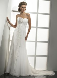 A-line floor-length chiffon bridal gown with hand made flower embellishment
