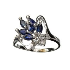 Blue Sapphire And Topaz Platinum Over Sterling Silver Ring Vintage Gift for birthday, wedding, birthstone, gemstone ring, promise ring by RegalRings on Etsy