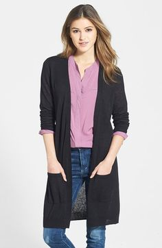 Halogen® Long Open Cardigan (Regular & Petite) available at #Nordstrom
