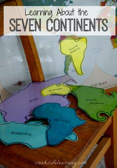 Seven continents for kids...learning activities, book recommendations...How to make a puzzle map...how to make Continent Cookies...map work, fun projects and