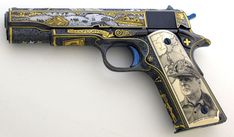 """Engraved by Mike Dubber, scrimshaw by Katherine Plumer - """"The Greatest Generation"""" Colt 1911"""