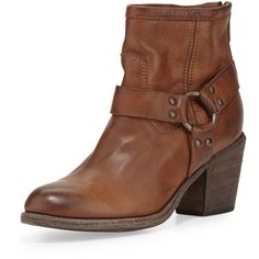 Frye Tabitha Leather Harness Ankle Boot ($345) ❤ liked on Polyvore featuring shoes, boots, ankle booties, cognac, harness boots, high heel booties, leather bootie, short leather boots and short boots