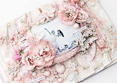 This gorgeous design would make a perfect baby album or wedding album. Create your own precious altered album with Memory Hardware and floral embellishments from Prima! Scrapbook Supplies, Scrapbooking Layouts, Scrapbook Pages, Digital Scrapbooking, Wedding Album, Wedding Guest Book, Altered Books, Altered Art, Baby Girl Scrapbook