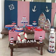 Aluguel Decoração - Marinheiro + Bolo Baby Shower Parties, Baby Shower Themes, Baby Boy Shower, Baby Shower Decorations, Sailor Baby Showers, Sailor Party, Bar A Bonbon, Nautical Party, Boy Decor