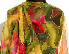 Green red chiffon silk scarf Hand Painted. Elegant silk scarf LONG SIZE Lightweight Chiffon . Pure silk scarf red green purple gold .