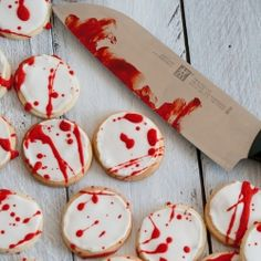 YIKES! blood spattered cookies for Halloween
