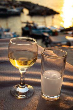 Greek Island wine & ouzo time Roasted Chestnuts, White Wine, Alcoholic Drinks, Island, Glass, Holiday, Vacations, Drinkware, Corning Glass