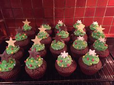 Christmas Tree Chocolate Cupcakes (Christmas 2015) Christmas Tree Chocolates, Christmas 2015, Chocolate Cupcakes, Baking, Desserts, Food, Bread Making, Meal, Patisserie